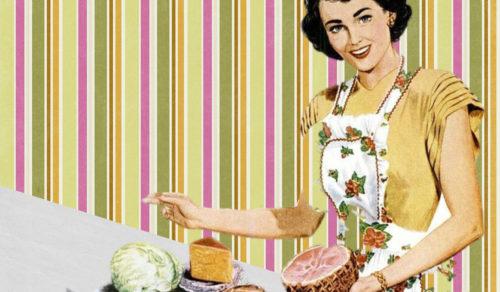 1960s woman retro food